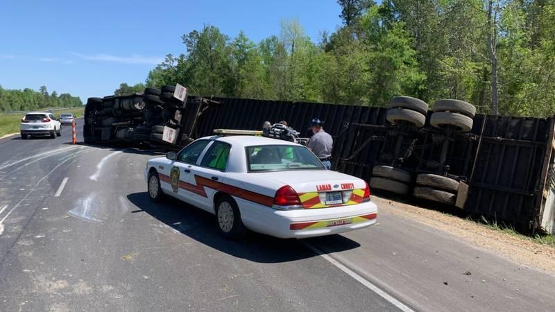 An 18-wheeler overturned on Interstate 59 near Lumberton on Monday morning.