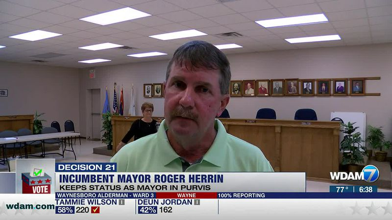 In Purvis, incumbent Mayor Roger Herrin will keep his title after defeating Jeremy Reid on...