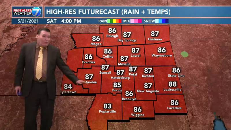 On Saturday, look for sunny skies and warmer temperatures with highs in the upper 80s.