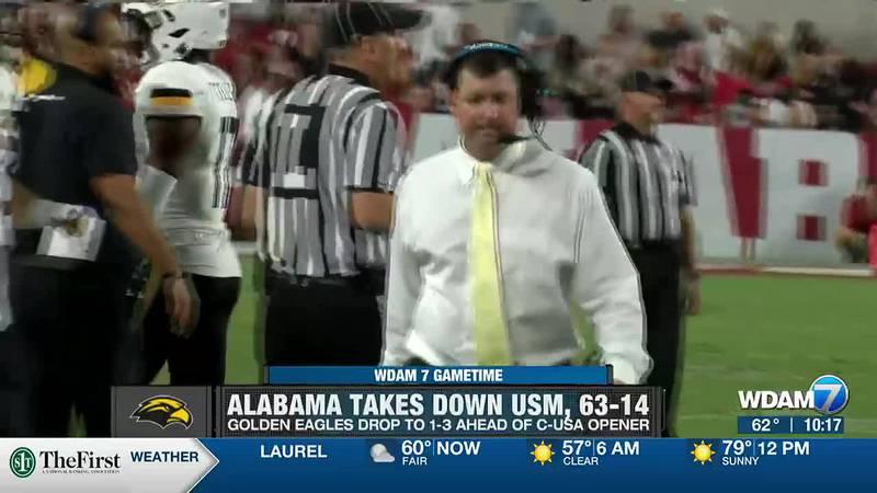 Southern Miss falls to Alabama, 63-14