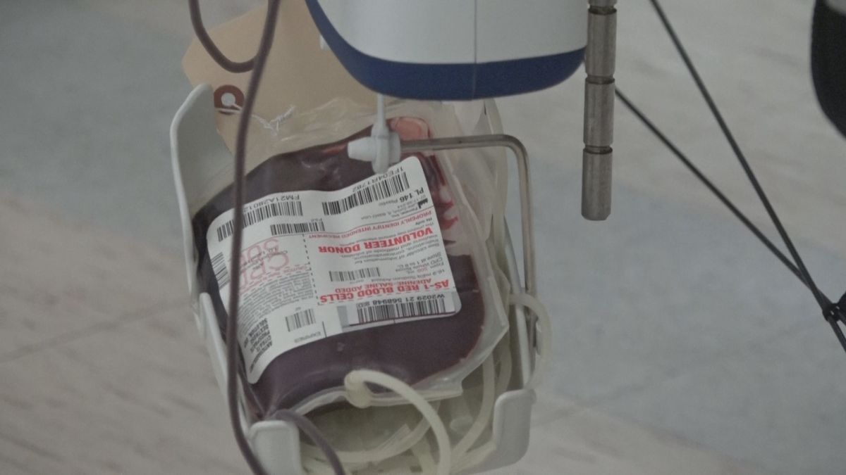 A bag of donated blood in Bridgewater.