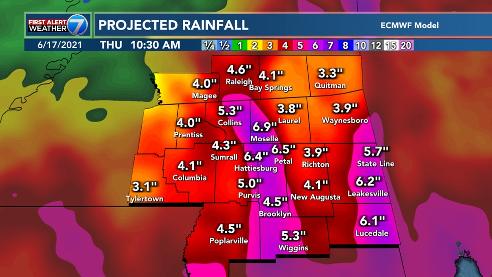 The biggest concern for the Pine Belt still looks to be heavy rain with 4 to 8 inches possible.