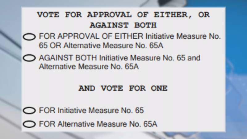 The medical marijuana portion of the ballot features two selections for voters to make.