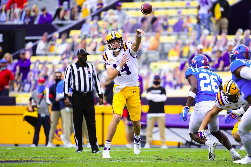 LSU quarterback Max Johnson (14) throws a pass during a game against the Ole Miss Rebels at...