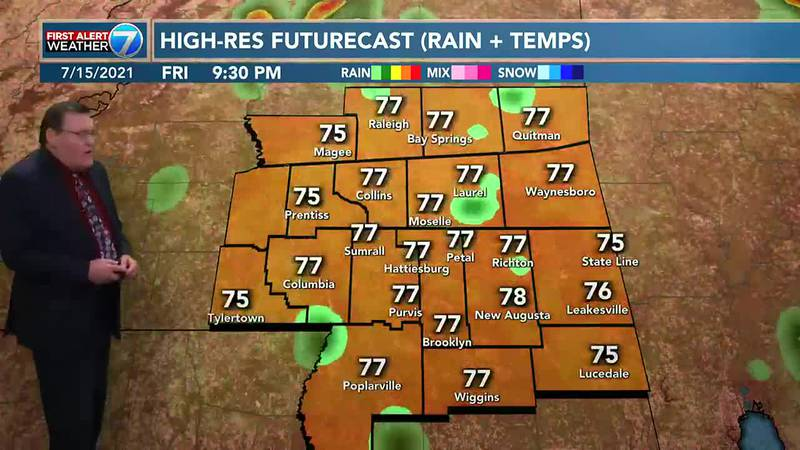 We will have partly cloudy skies with a 50% chance for mainly afternoon and early evening...