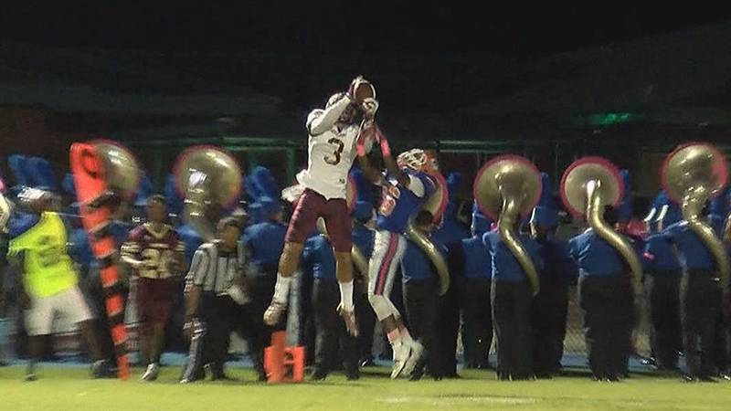 Ty Fryfogle goes up for a catch against Gulfport as a member of George County.