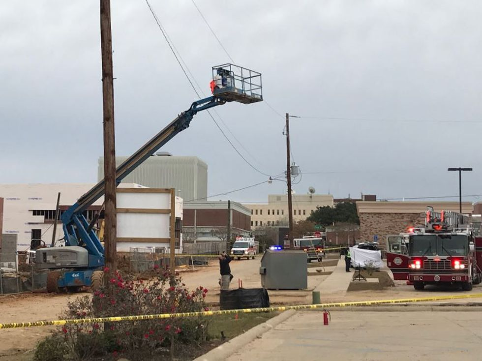 The accident happened Friday morning on the site where The District at Midtown is under...