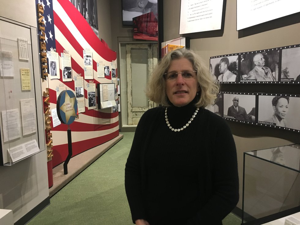 Mississippi Department of Archives and History Director Katie Blount stands in one of eight...