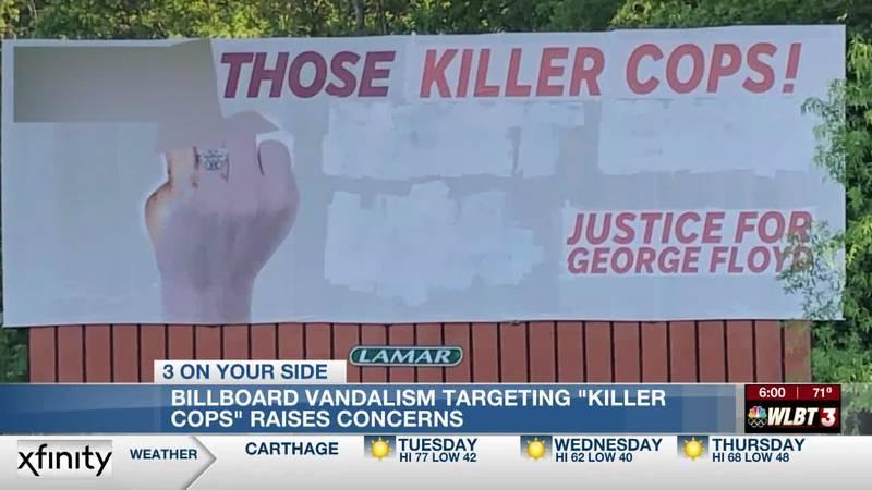 Vandalized I-55 billboard targets 'killer cops' with profanity, references justice for George...