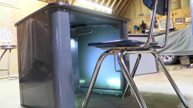 The safe space desk invented by Todd Drummond is made with ballistic material and it took about...