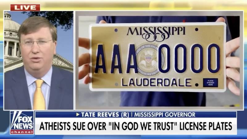 Gov. Reeves calls lawsuit over 'In God We Trust' license plates a 'publicity stunt'