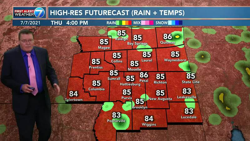 We have a 40% chance of scattered showers and thunderstorms Thursday with highs in the upper...