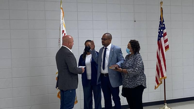 Chief Daniel Gilmore sworn into office by Mayor Donald Brown