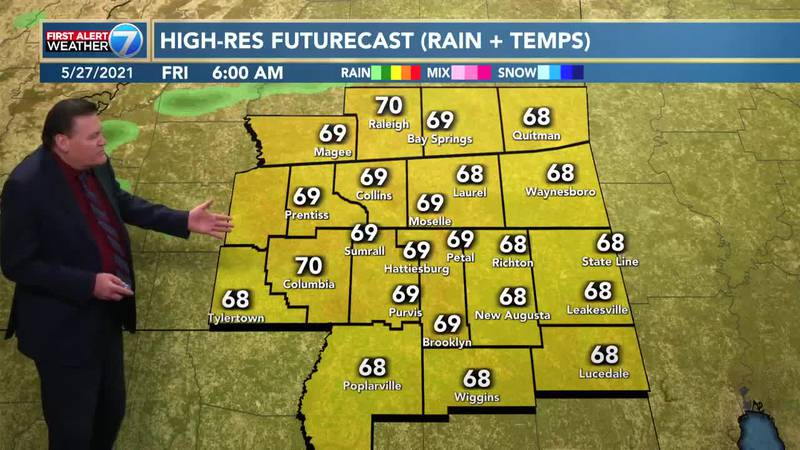 Look for patchy fog Friday morning followed by partly cloudy skies in the afternoon with a 40%...