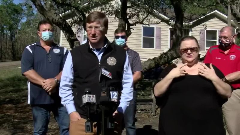 Mississippi Governor Tate Reeves made stops in all three coastal counties Thursday to survey...