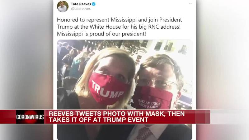 Photos show Gov. Reeves attending Trump speech maskless despite his own post wearing one