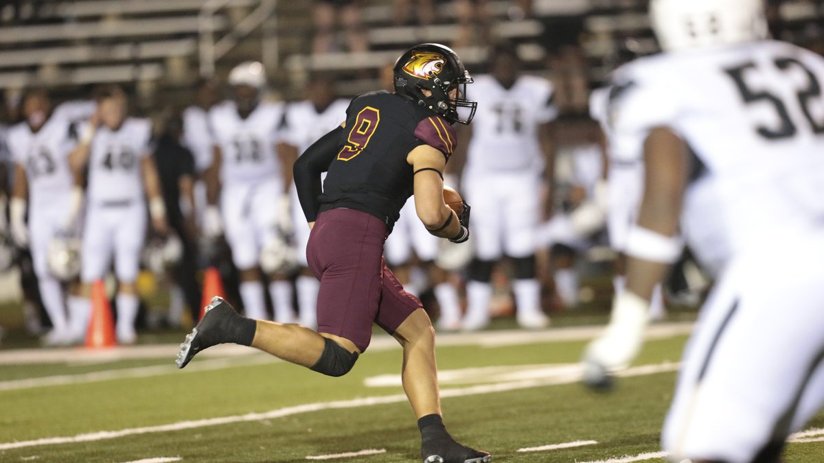Pearl River Community College linebacker Noah Mitchell takes off with an interception in a win...