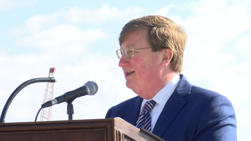Gov. Tate Reeves speaks at a press conference on Jan. 14 in Bay St. Louis to officially welcome...
