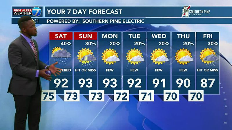 Saturday will be hot and humid with highs soaring into the low 90s but the heat index will make...