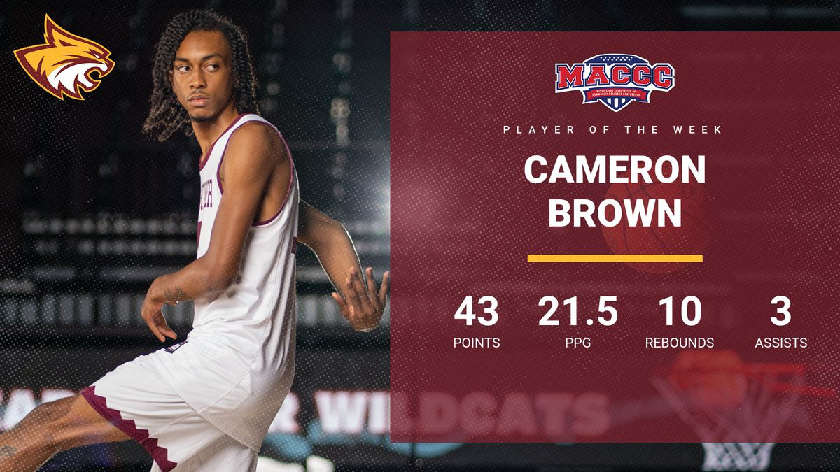 Pearl River Community College's Cameron Brown was named Mississippi Community College...