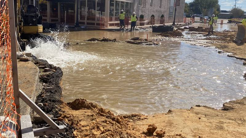 According to Laurel Mayor Johnny Magee, a water line was hit near the construction zone.