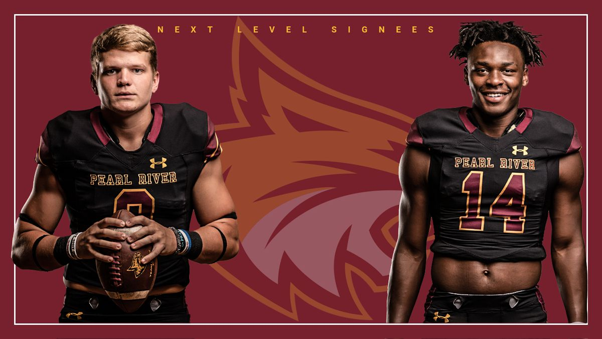 Pearl River Community College linebacker Noah Mitchell (left) and receiver Stetson Moore both...