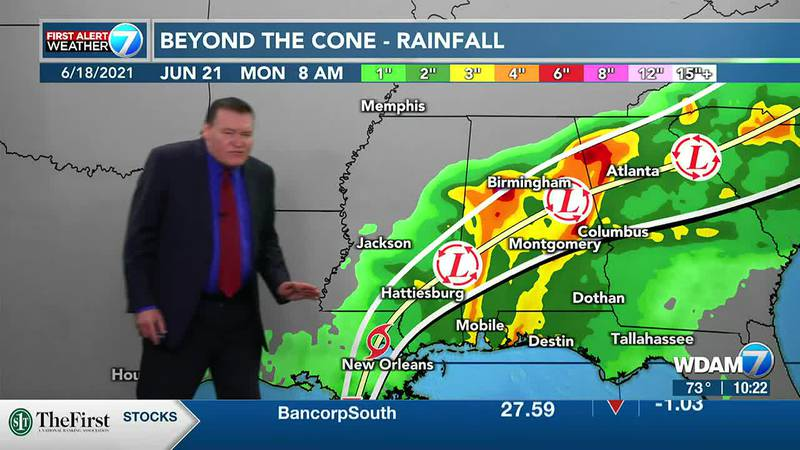 Flash flooding and a few isolated spin up tornadoes is possible in the Pine Belt through about...