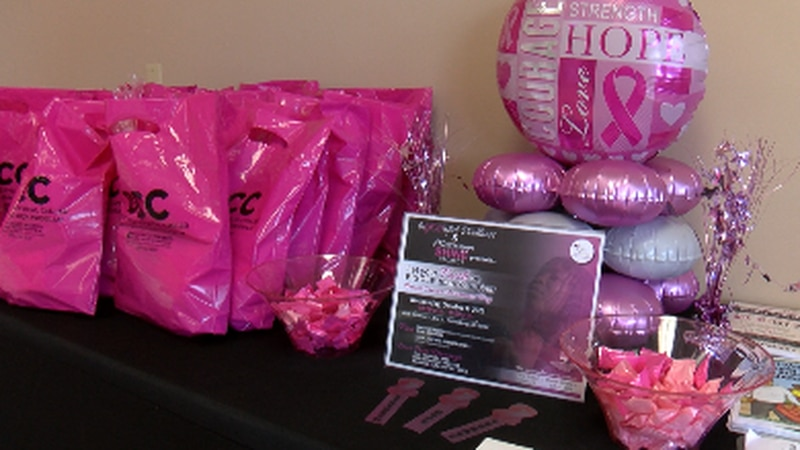 decorated table at breast cancer event