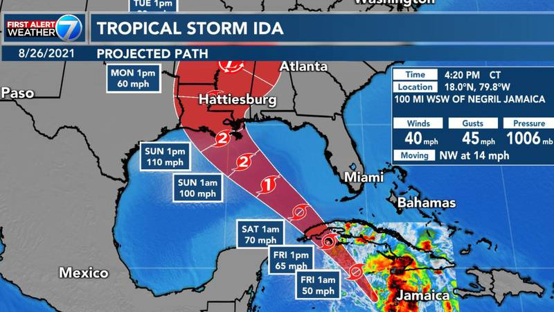 Tropical Storm Ida formed Thursday afternoon.