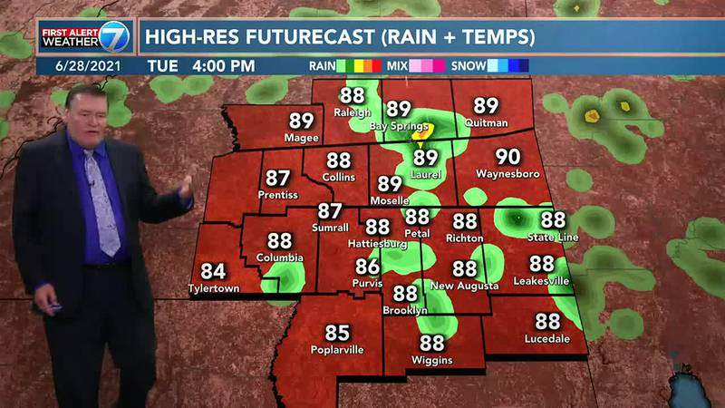 On Tuesday, look for a 40% chance for mainly afternoon and early evening showers and...