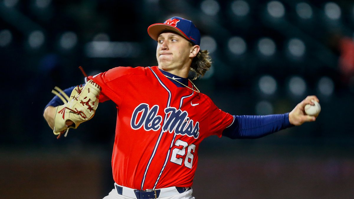 Ole Miss pitcher Doug Nikhazy throws a pitch during an NCAA college baseball game against...