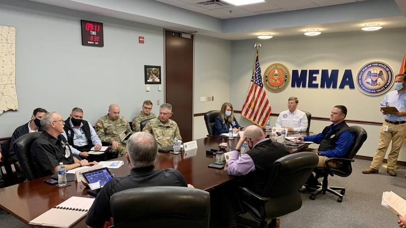 Gov. Tate Reeves and other emergency officials discuss Hurricane Ida.