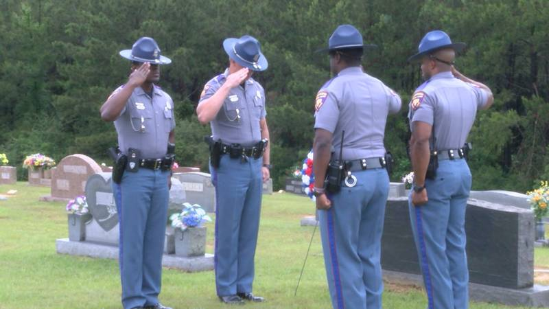 At Hillcrest Cemetery in Petal, four troopers saluted and placed a wreath at the grave of...
