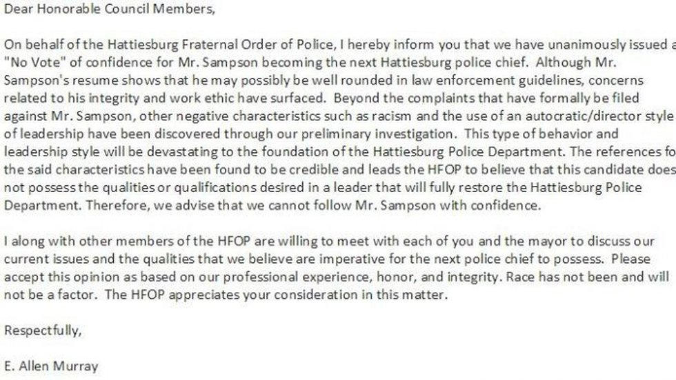 Letter explaining vote of no confidence by Hattiesburg's Fraternal Order of Police