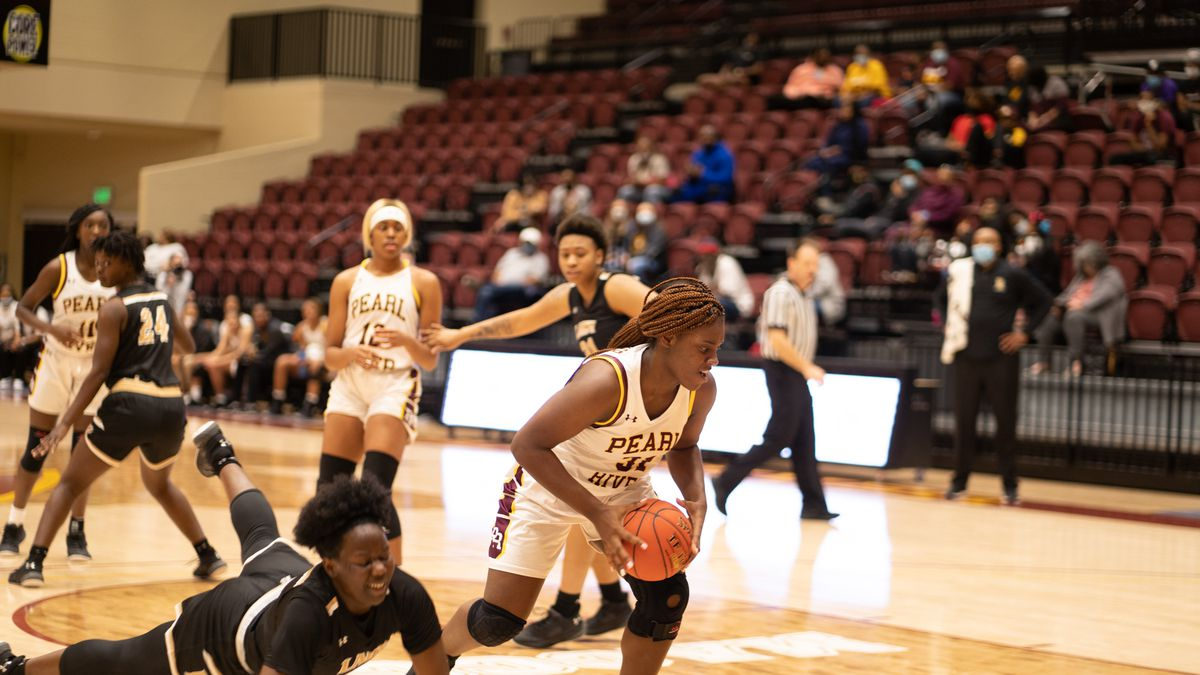 Pearl River Community College's Bryanna Taylor heads downcourt Thursday night in the Lady...