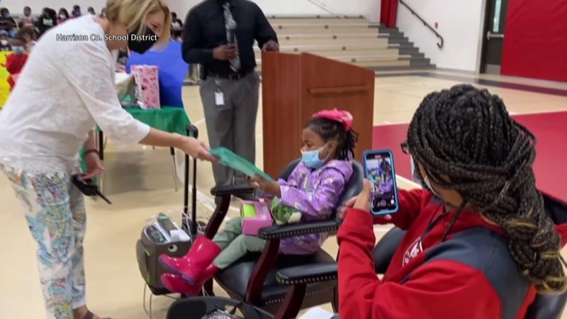 Kyleigh Ward was surprised Monday with kindergarten graduation ceremony at Crossroads...