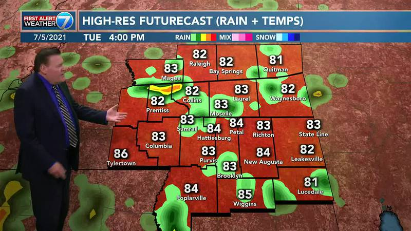 Tuesday you can expect partly cloudy skies with a 50% chance for mainly afternoon and early...