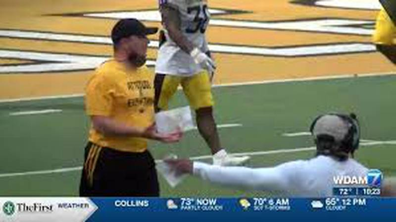 Will Hall, seen here during a summer football scrimmage, will lead the University of Southern...