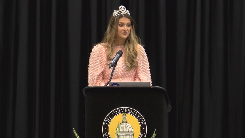 2020 Mississippi Miss Hospitality, Mckay Lee Bray, speaks Saturday during a farewell brunch for...