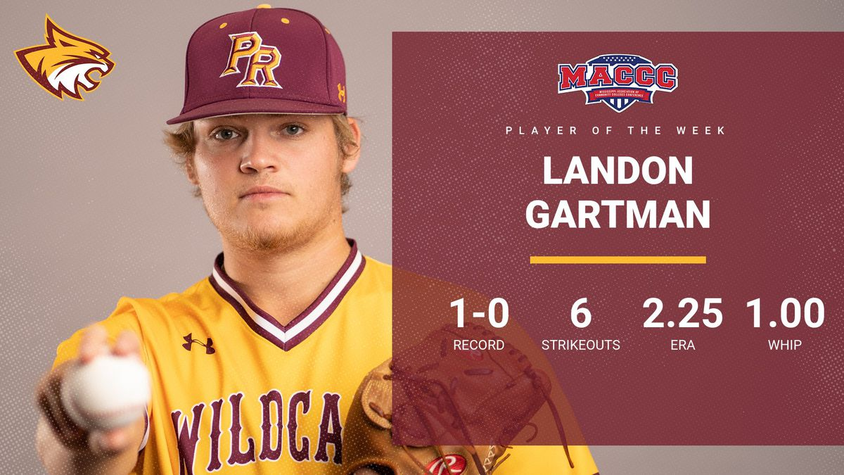"""Pearl River Community College right-hander Landon Gartman was named MACCC's """"pitcher of the..."""