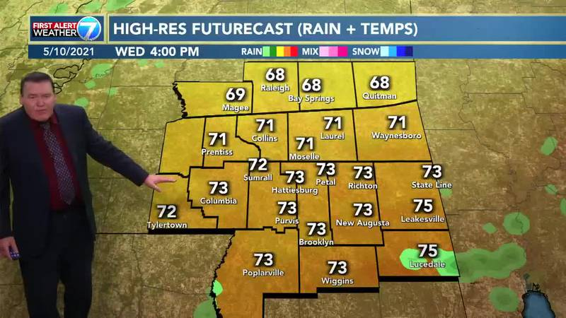 Showers and thunderstorms will be likely on Tuesday with highs in the mid 70s.