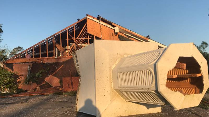 Berean Baptist Church in Soso was badly damaged in Sunday's storms.