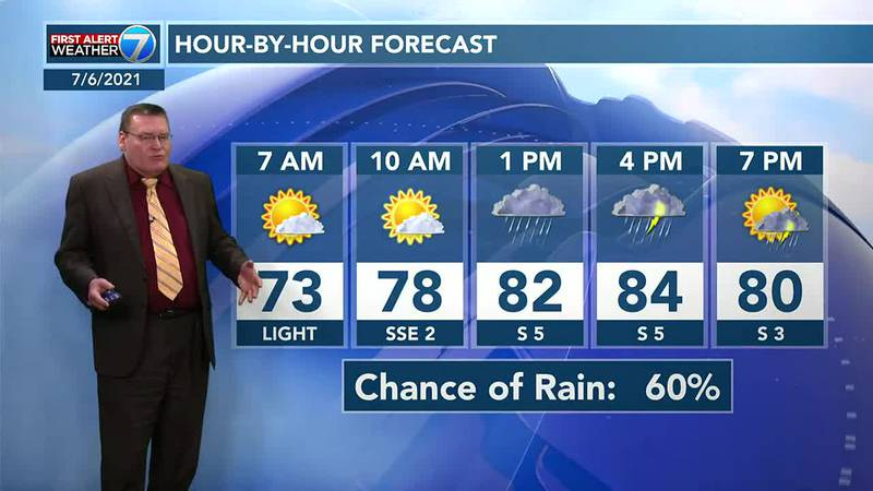 On Wednesday, look for mostly cloudy skies with highs in the mid-80s with a 60% chance for...