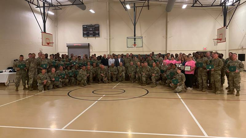Gov. Tate Reeves visited Camp Shelby to present awards to the Mississippi National Guard for...