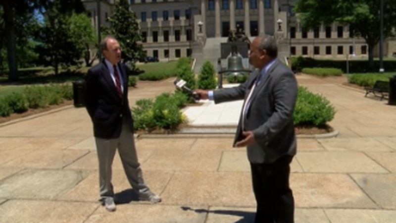 Lt. Gov. Delbert Hosemann is interviewed by Howard Ballou at the Capitol