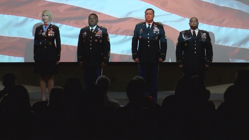 Four soldiers from the 177th Armored Brigade retired in a ceremony at Camp Shelby Friday.  They...