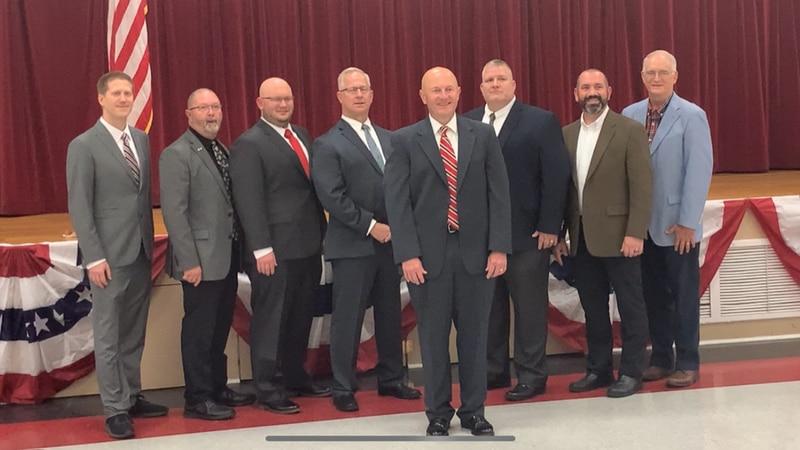 Petal Mayor-Elect Tony Ducker stands tall among his new aldermen.