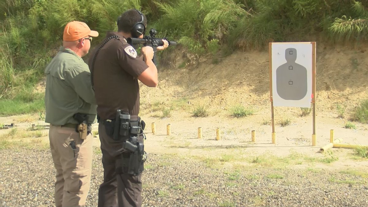 Deputies with the Jones County Sheriff Department test out their new AR-15's purchased with a...