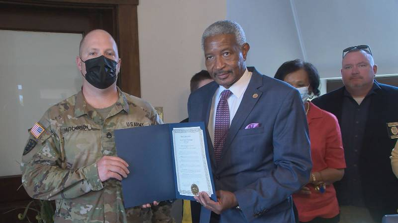 City officials, members of the community and soldiers from around the area gathered as Mayor...
