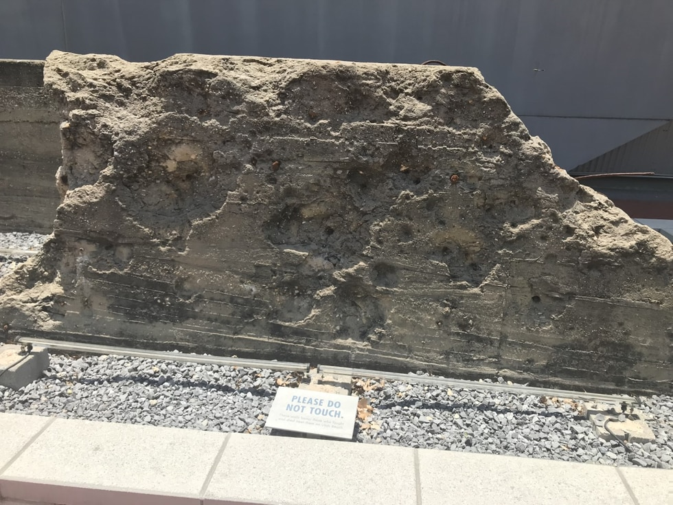 A piece of concrete from Hitler's Atlantic Wall damaged from the Allied invasion of Europe.